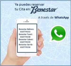 Whatsapp-Benestar-reserva-cita-centro-estetica