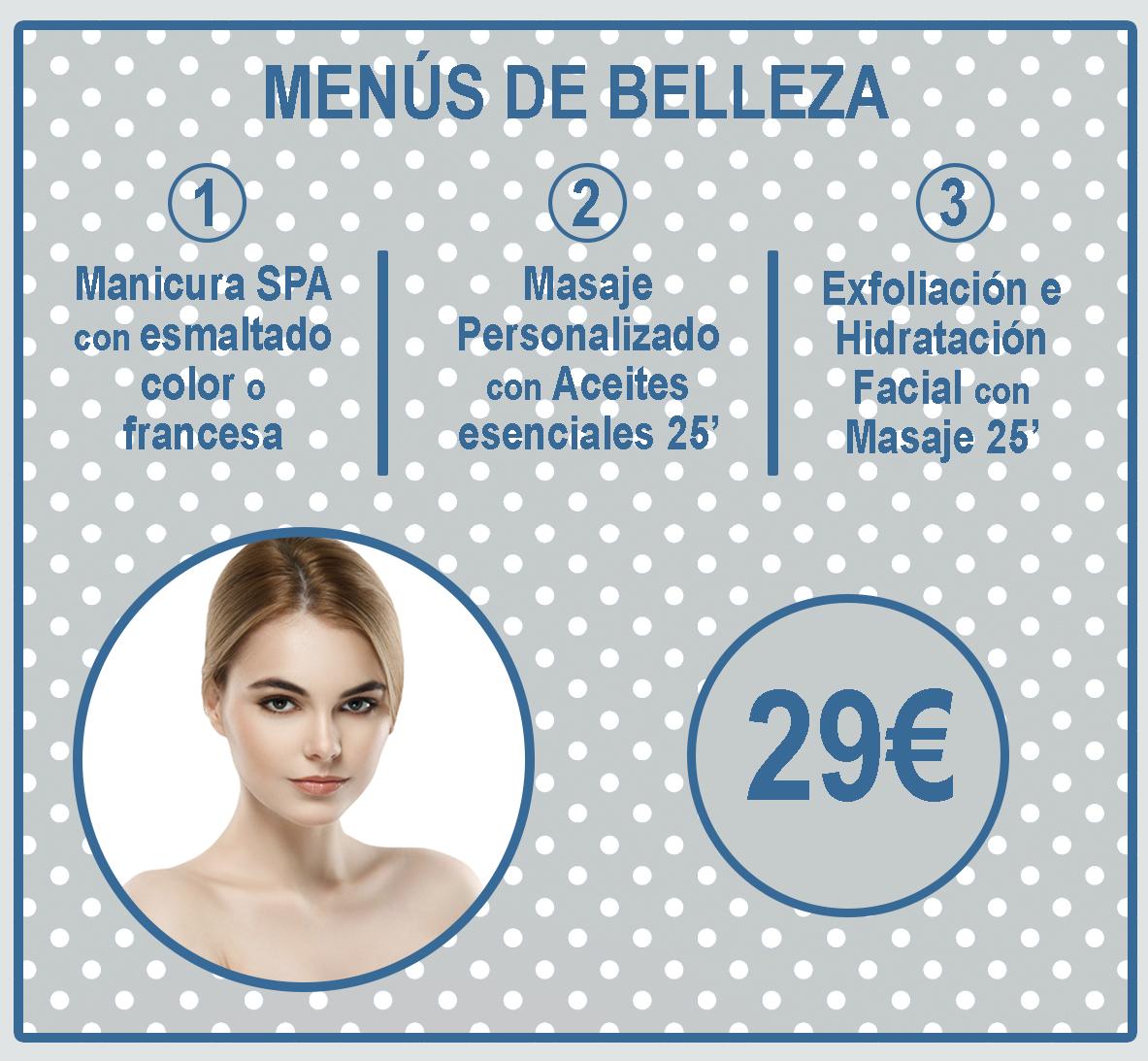 MENU DE BELLEZA AZUL